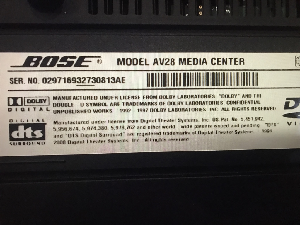 Bose Lifestyle AV28 DVD media center