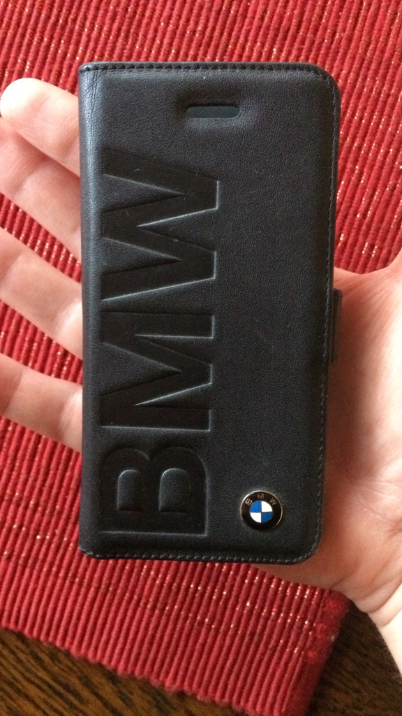 Sort skinn bmw smartphone flip case