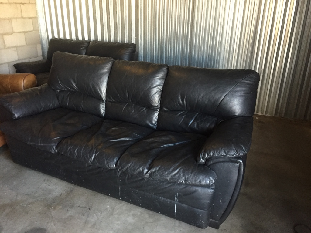 Letgo Black Leather Couch And Love Seat In Luke Afb Az