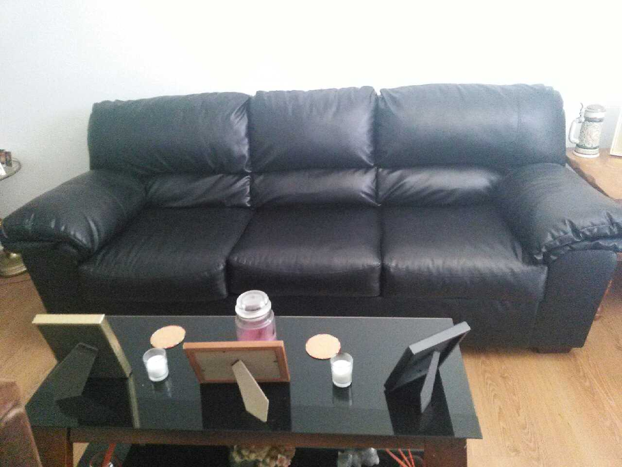 Letgo Black Leather Couch And Love Seat Set In Phelps Tx