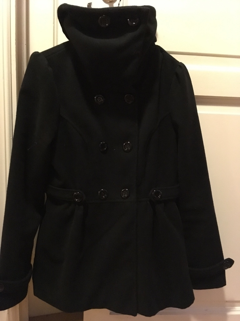 Black double breasted high neck coat