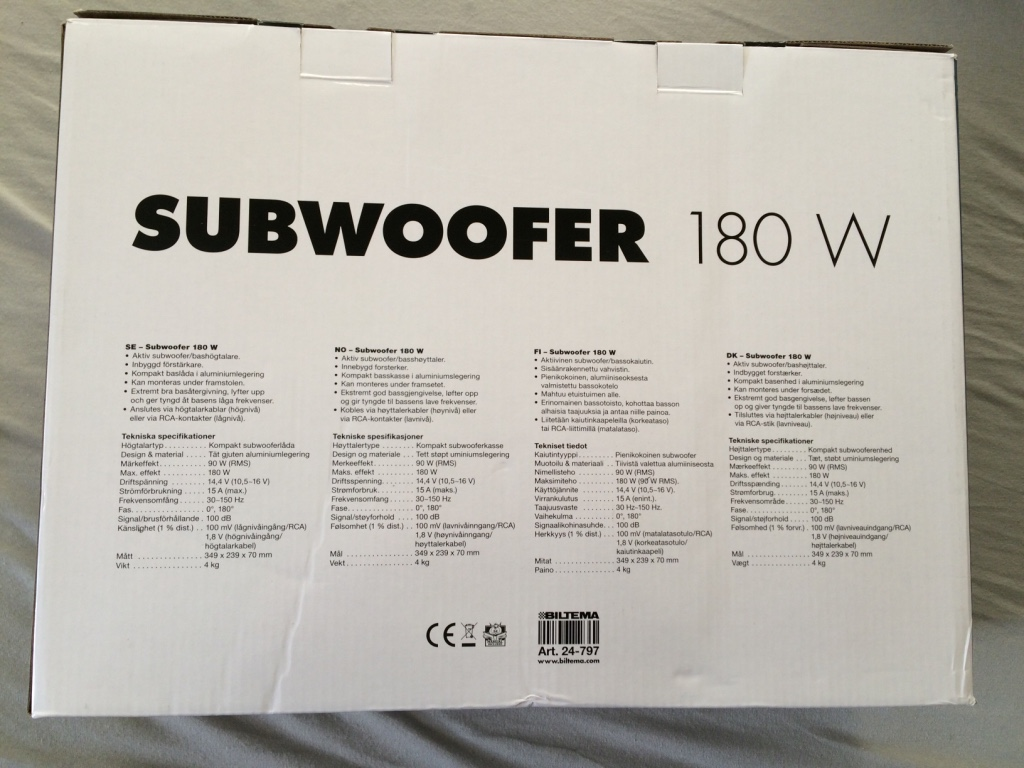 høy Performace subwoofer 180w