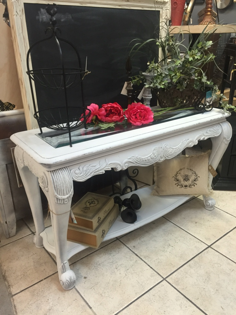 Foyer Table Glass Top : Letgo white wooden glass top foyer table in gilbert az