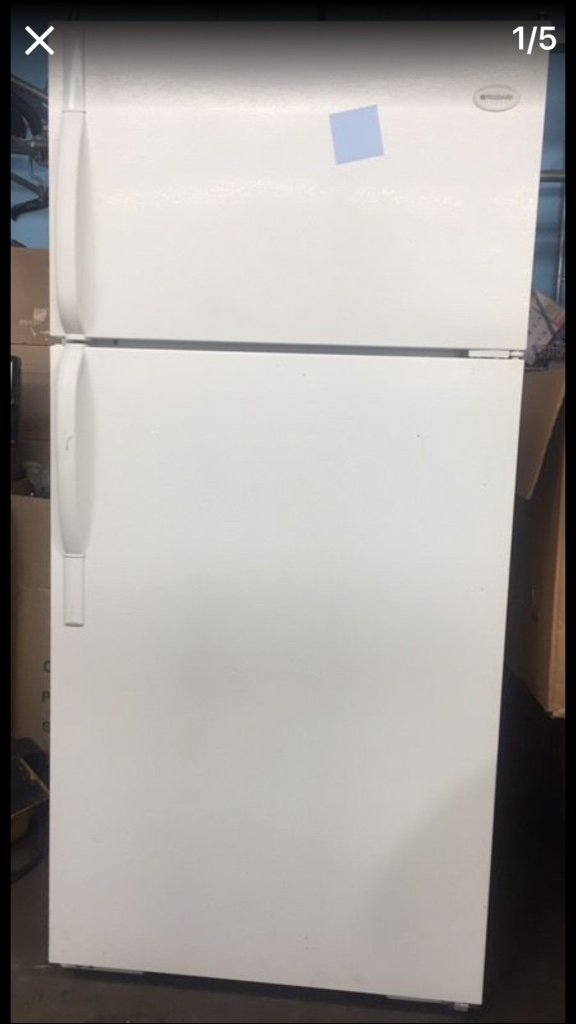 wonderful Damaged Kitchen Appliances For Sale #7: USED FRIGIDAIRE REFRIGERATOR - WHITE FULL SIZE - SLIGHTLY DAMAGED