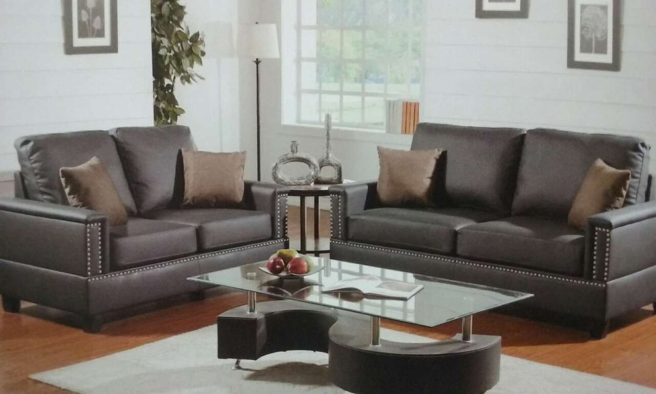 Home and garden beautiful bonded leather 2 pcs living room set