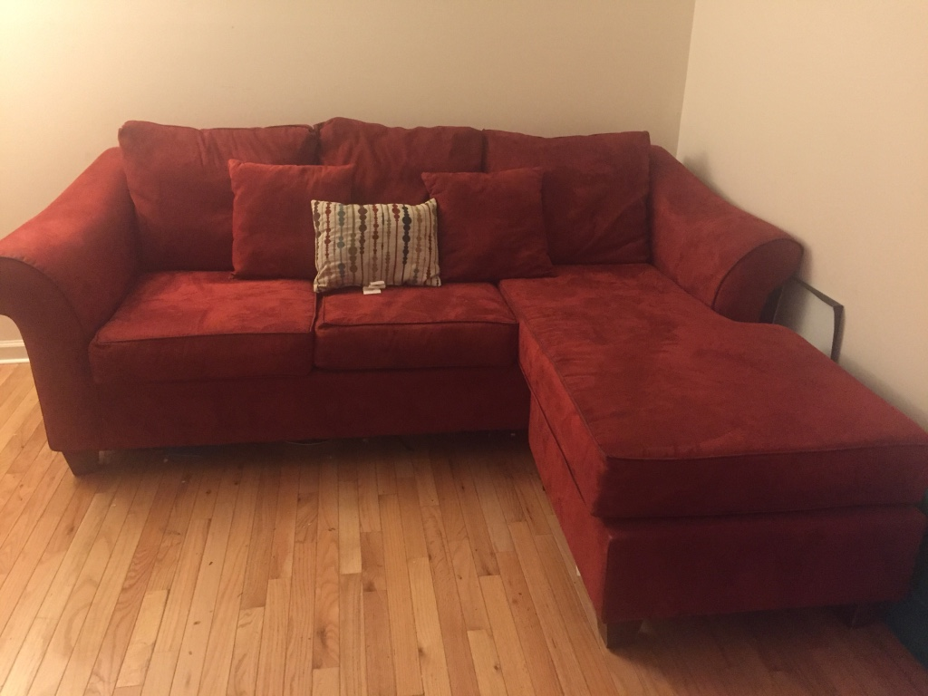 Letgo red suede sectional sofa in sandy springs ga for Suede sectional