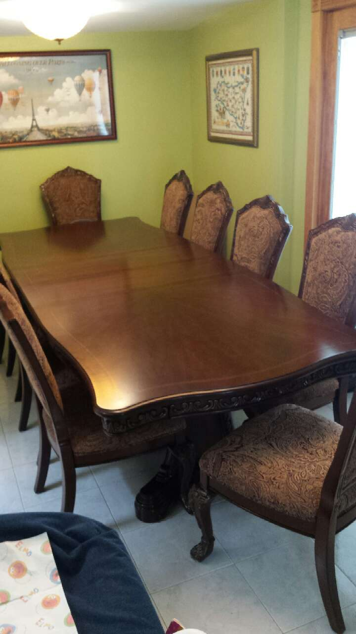 Letgo brown wooden dining table set in argo village ny - Set de table new york ...