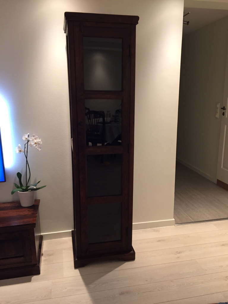 brown wooden frame glass cabinet
