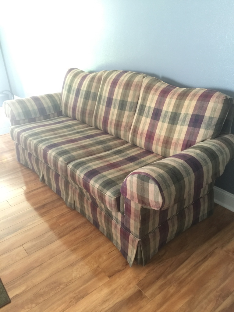 Letgo grey white and black 3 seat sofa in paw creek nc - Plaid para sofa ...