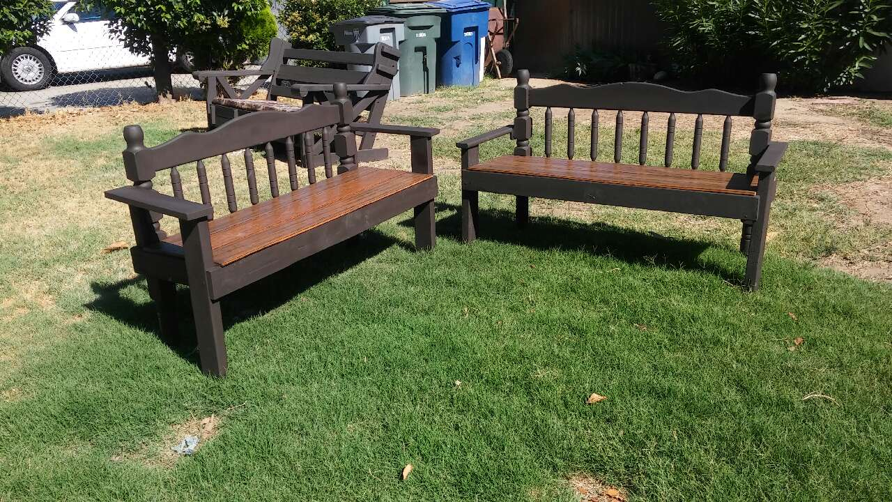 Letgo Brown And Black Wooden Bench In Fresno Ca
