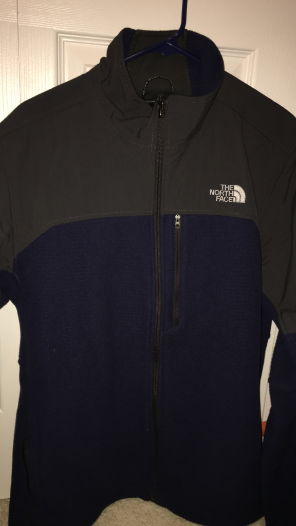 black and blue the north face zip up jacket