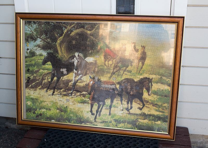 Horses and trees painting