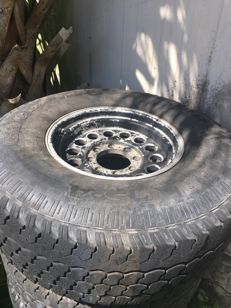 have 4 used tires on 8 lug rims need gone you can spray paint rims. Black Bedroom Furniture Sets. Home Design Ideas