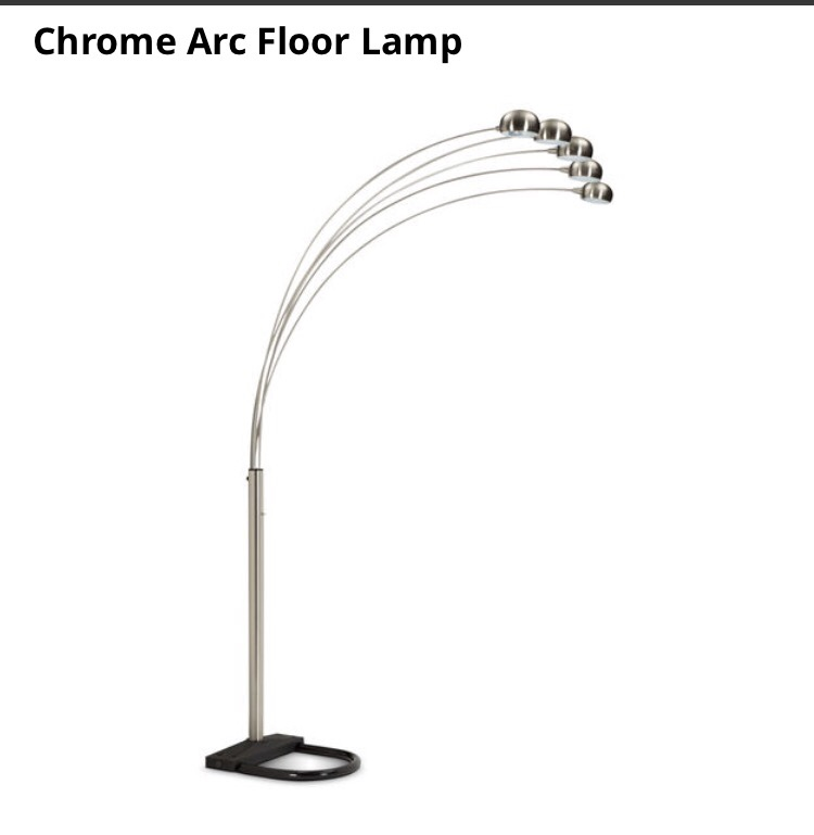 greenwd home and garden chrome arc floor lamp silver color 5 lamps. Black Bedroom Furniture Sets. Home Design Ideas