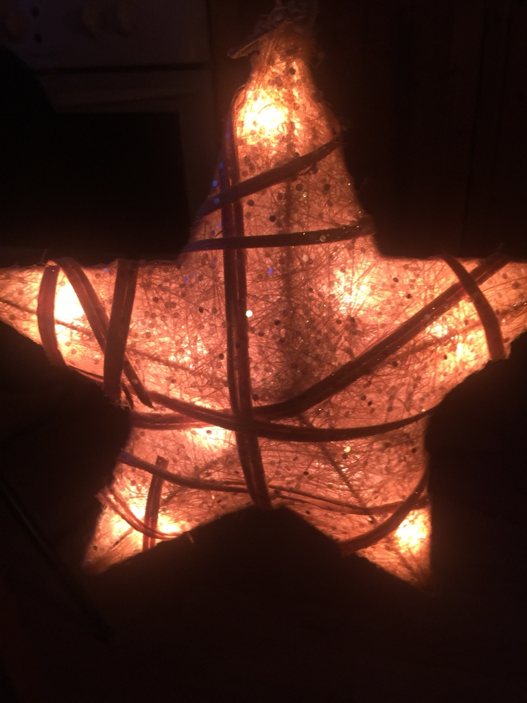 Brown star lighted lantern