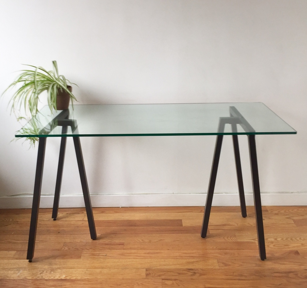Letgo black metal glass top console table in brooklyn ny for Metal and glass console tables
