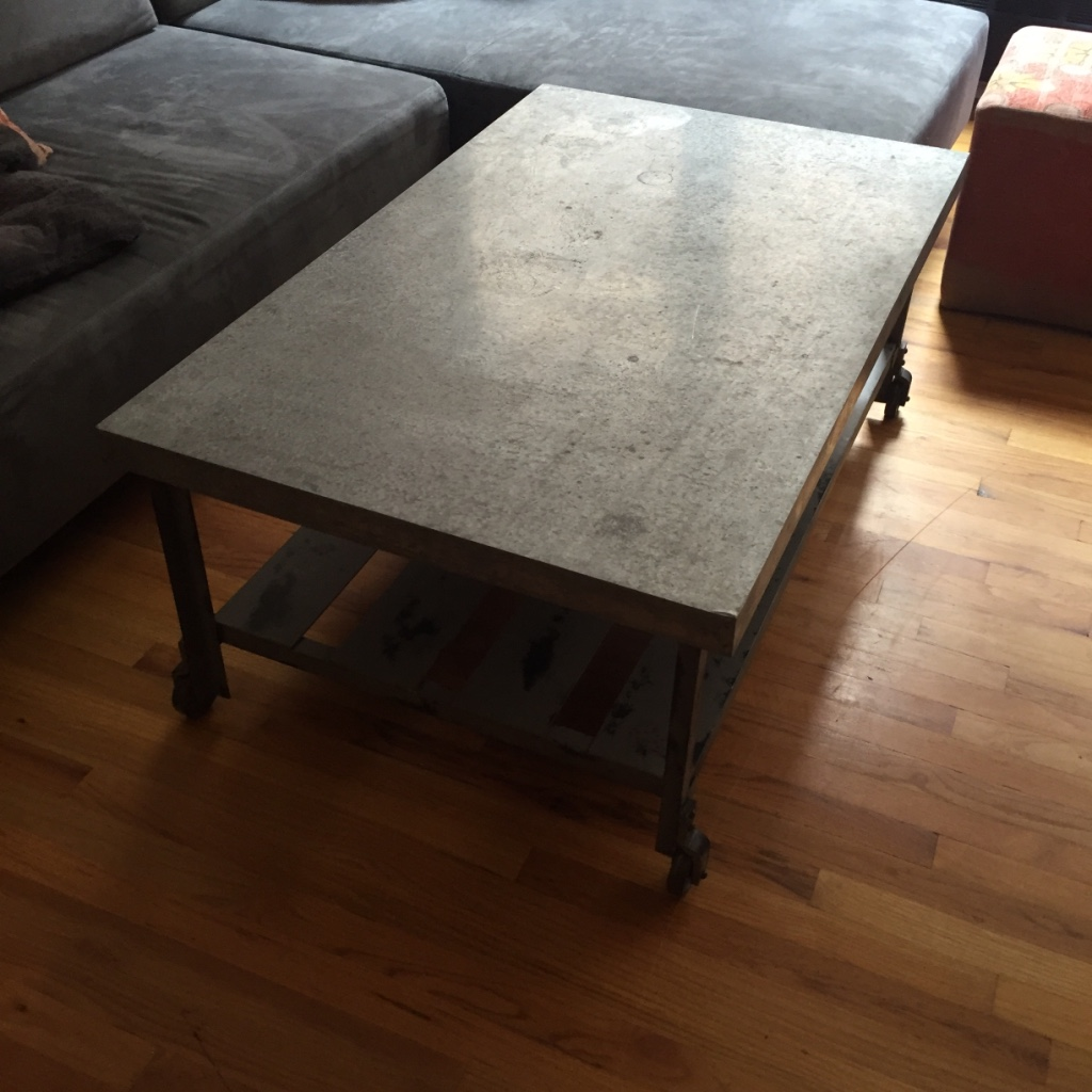 Letgo grey metal rectangular top co in castle point nj for Gray metal coffee table