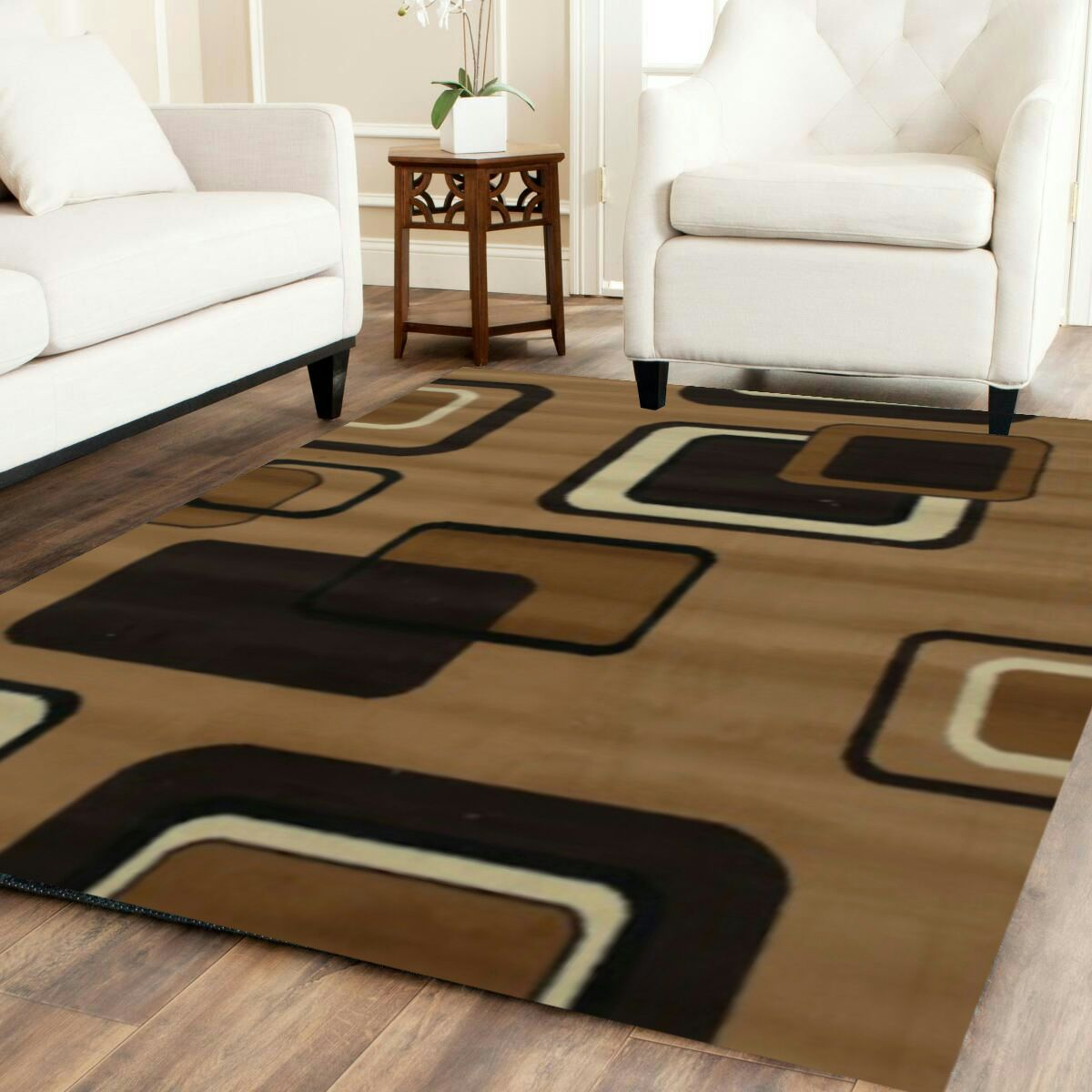 letgo brown black and white area rug in bellaire tx. Black Bedroom Furniture Sets. Home Design Ideas