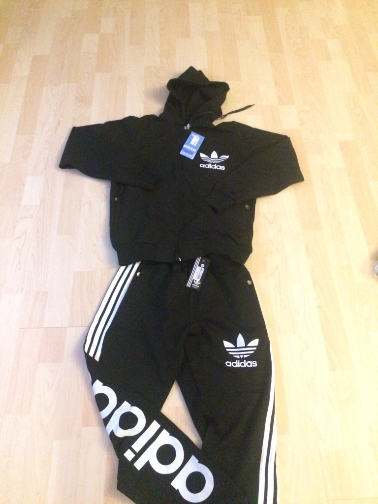 Black and white adidas hoodie and track pants