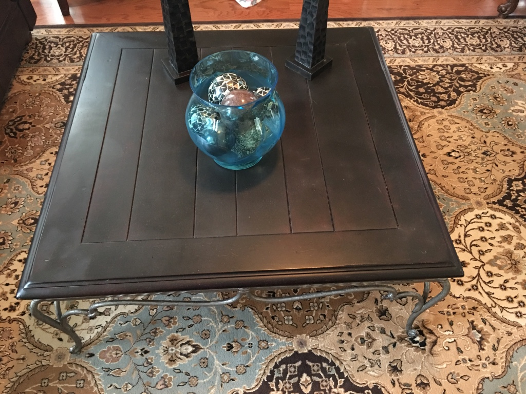 Letgo wood and wrought iron coffee table in industrial ga for Rod iron and wood coffee table