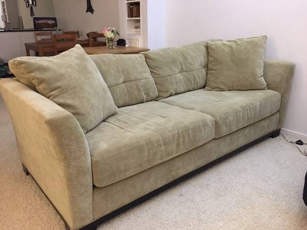 Letgo olive green suede couch for in farmer market ca for Suede couches for sale