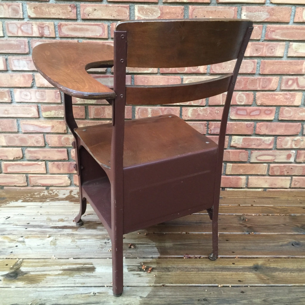 Children's Wood & Metal School Desk Chair. Excellent Condition. Clean . Full resolution‎  portrait, nominally Width 1024 Height 1024 pixels, portrait with #895E42.