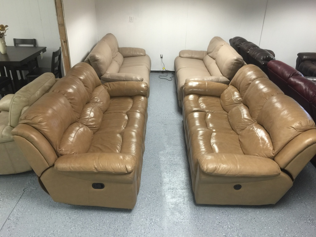 letgo - brown patent leather 3 seat sofa in Jacksonville, FL
