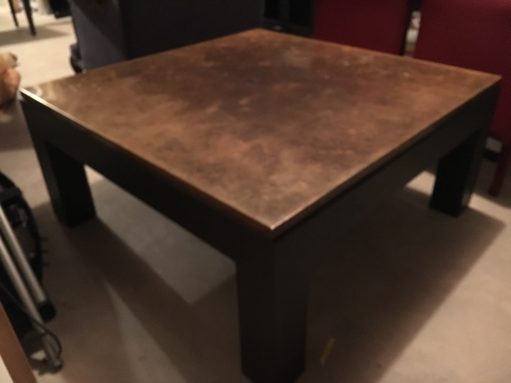 Letgo metal and copper square coffee table in needham ma for Coffee table 48 x 36