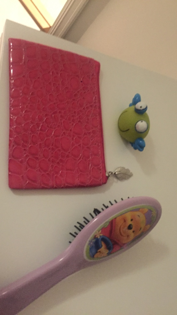 red leather pouch with pink winnie the pooh hair brush