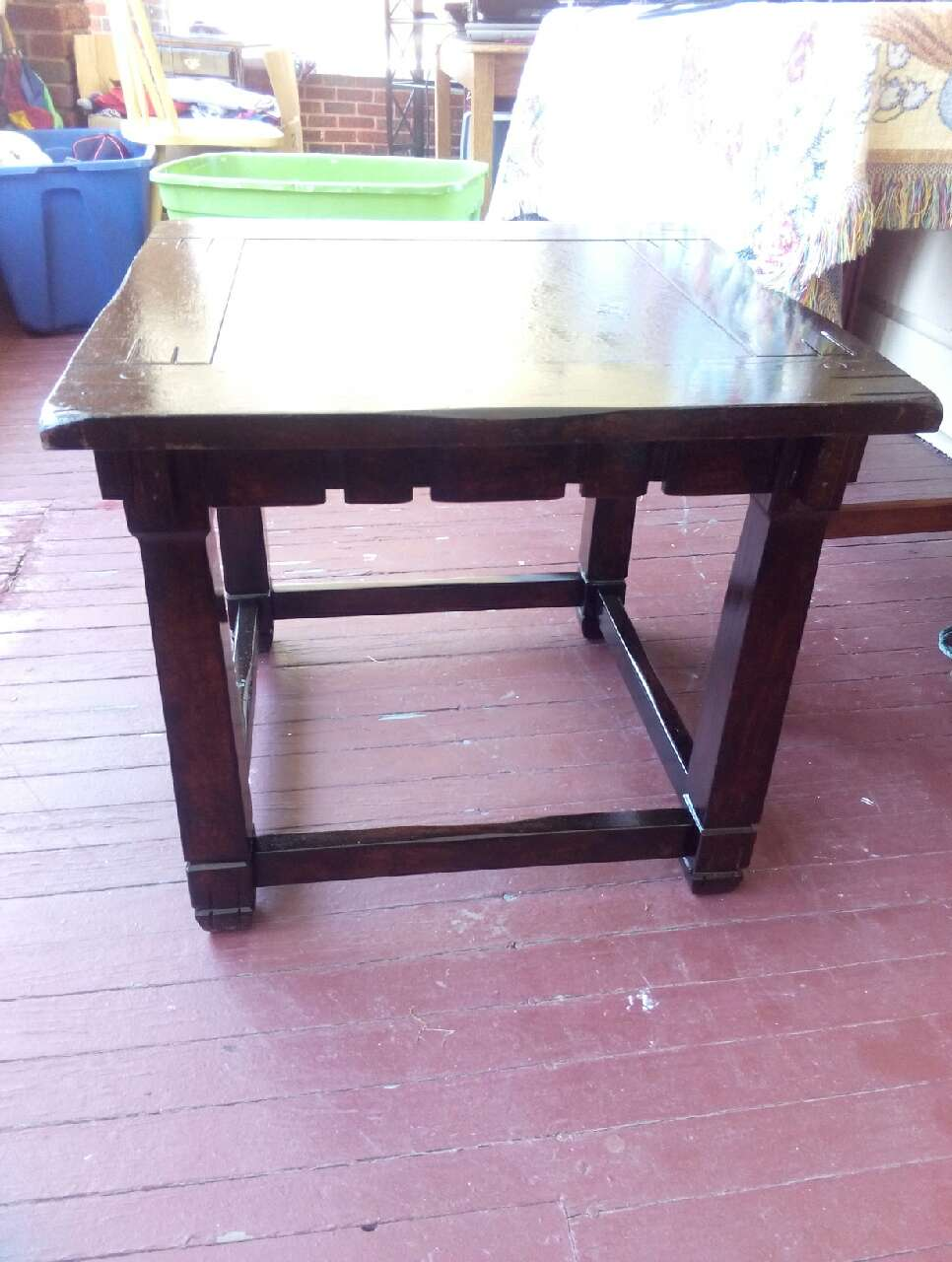 Letgo brown wooden square end table in greensboro nc for Table 6 greensboro nc