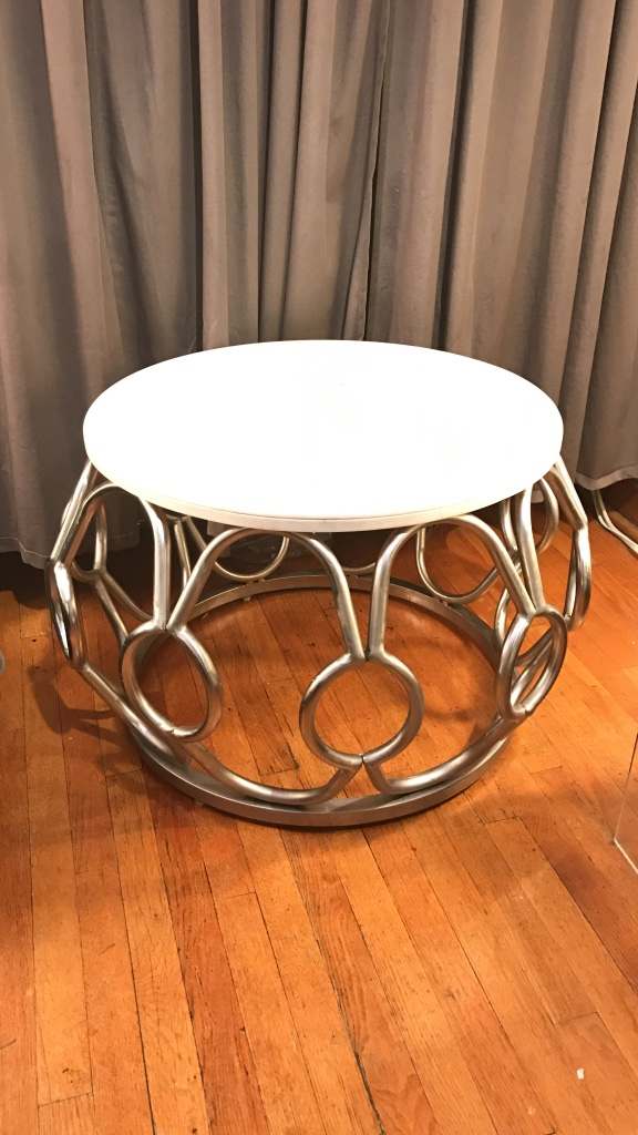 Brushed Silver With White Marble Side Table New York Ny