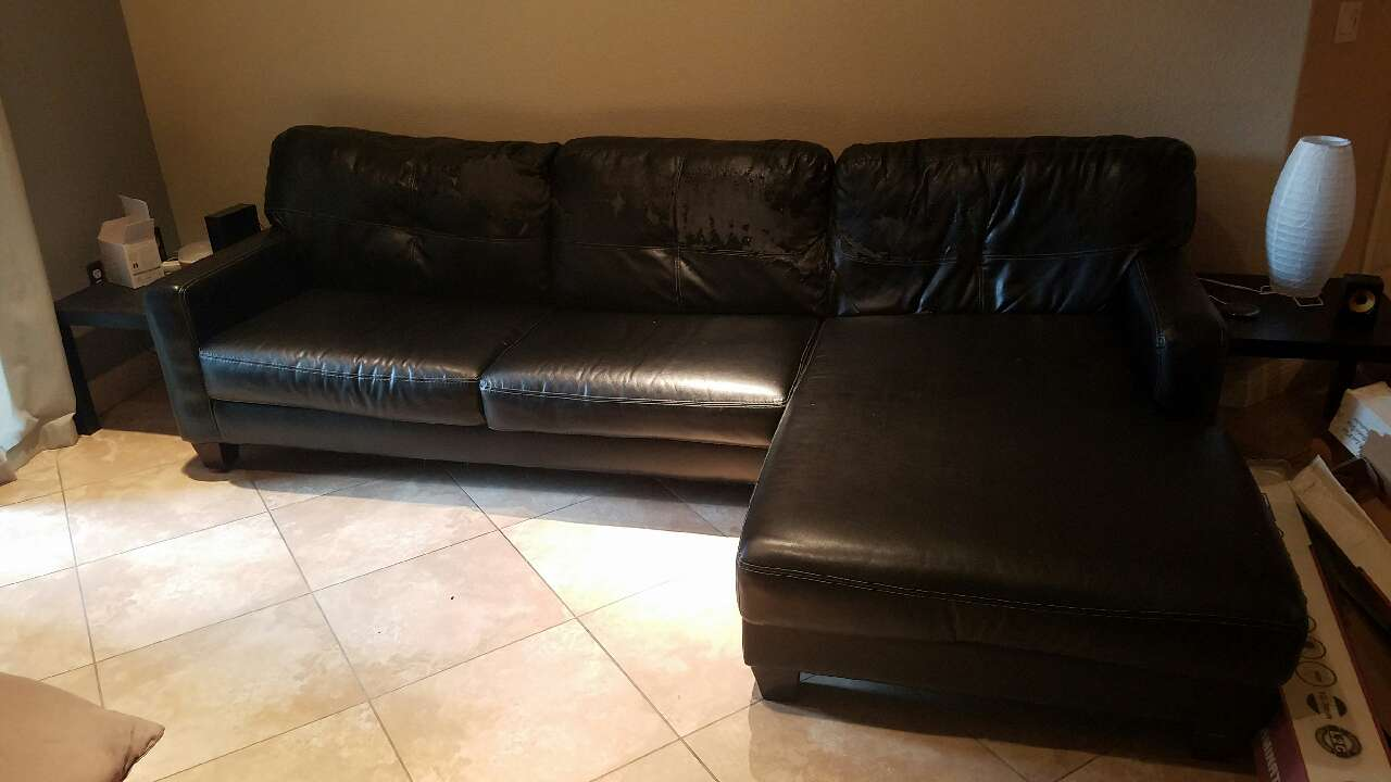 Letgo black leather padded chaise couch in arden nv for Black leather couch with chaise