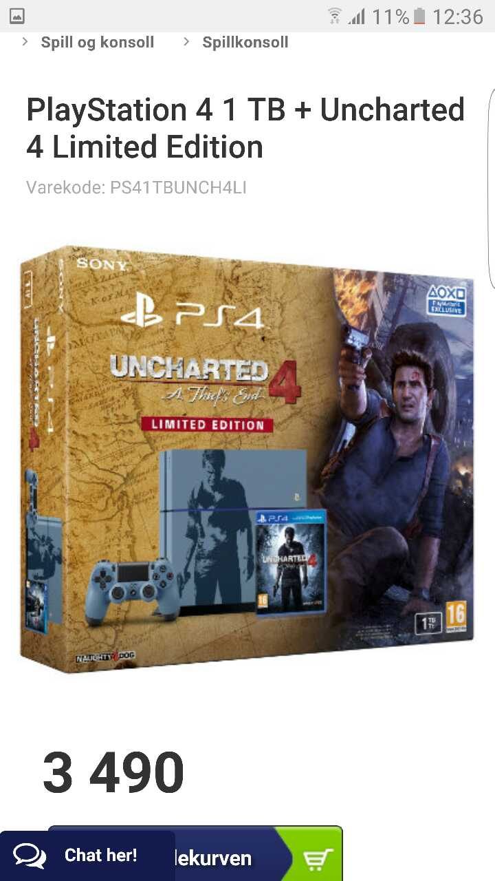 sony PS4 Uncharted 4 en tyv slutt limited edition