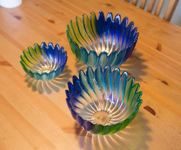 Blue purple and green glass bowl