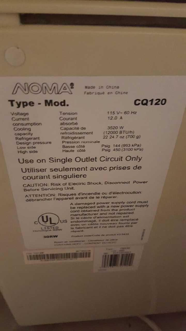 noma cq120 air conditioner manual