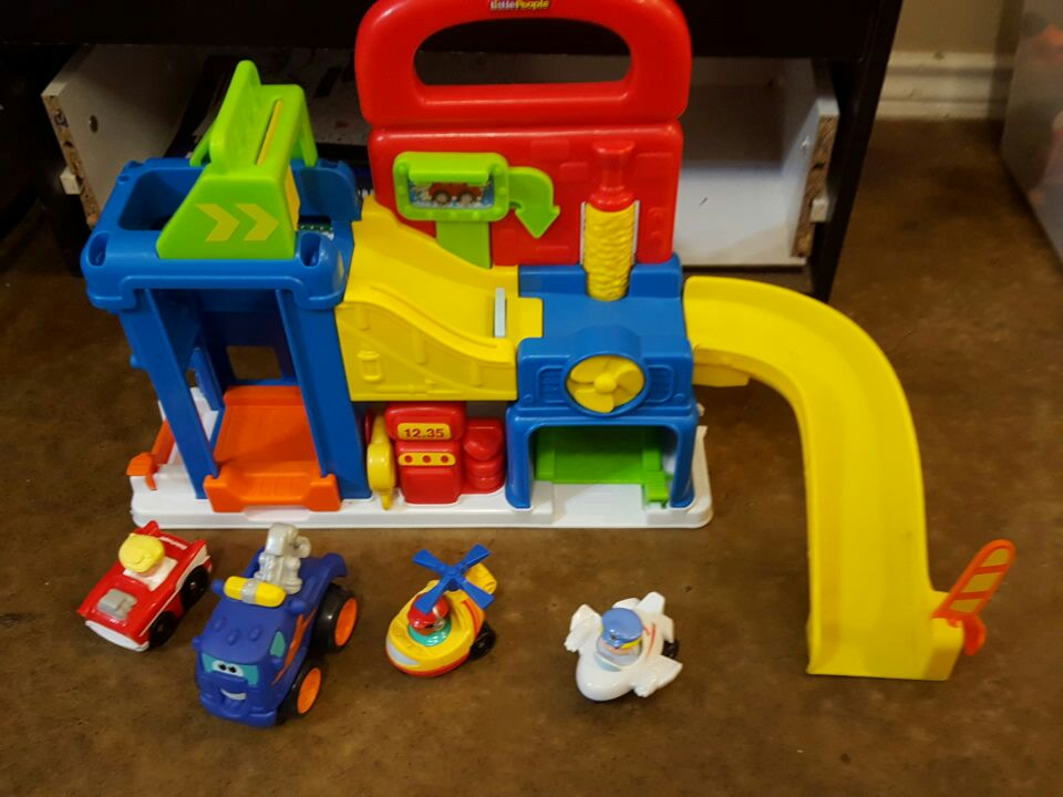 Little People Playhouse and cars